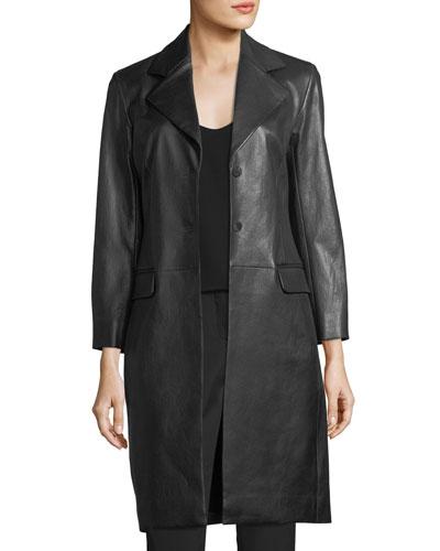 Rami Mid-Length Leather Coat