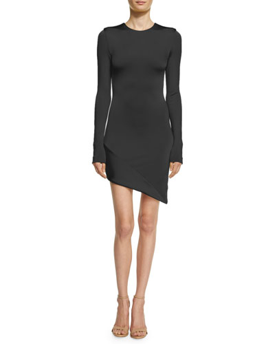 Lola Asymmetric Long-Sleeve Minidress