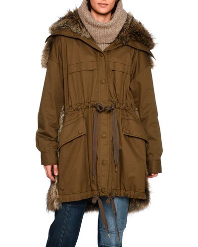 GAIL PARKA WITH FAUX-FUR TRIM, OLIVE