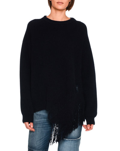 Fringed Cashmere-Blend Sweater, Navy