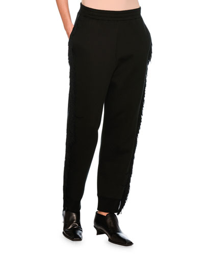 Fringed Jogger Pants, Black