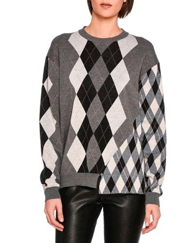 Asymmetric Argyle Check Jacquard Sweater in Grey