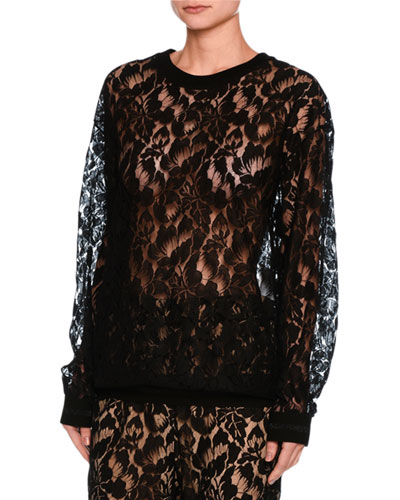 Ines Floral Lace Sweatshirt, Black