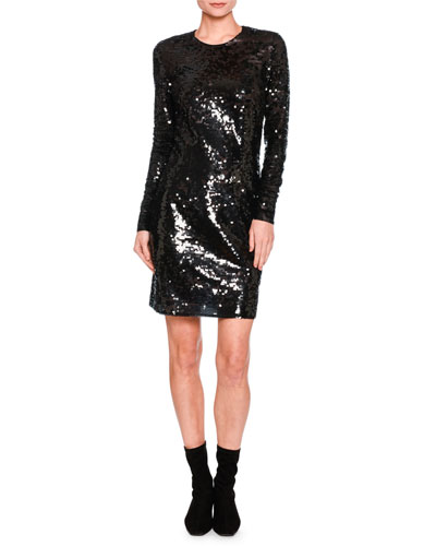 Katie Long-Sleeve Sequined Dress, Black