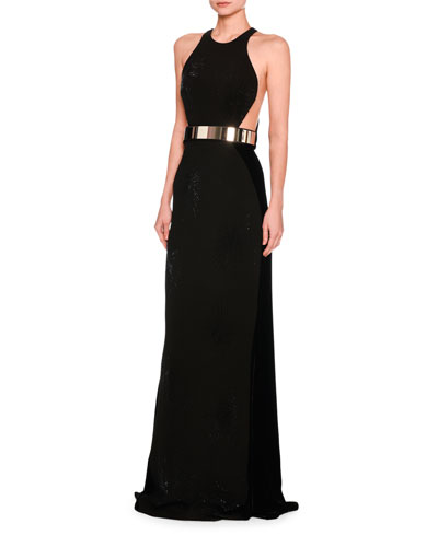 Saskia Sleeveless Belted Velvet Gown, Black