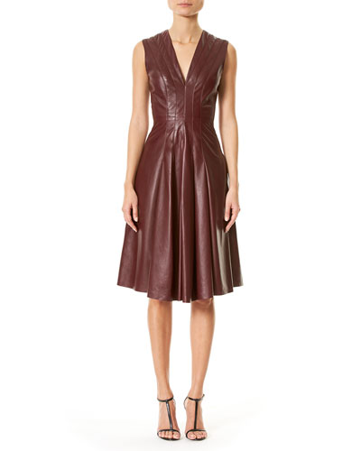 Lamb Leather Sleeveless V-Neck Dress, Burgundy