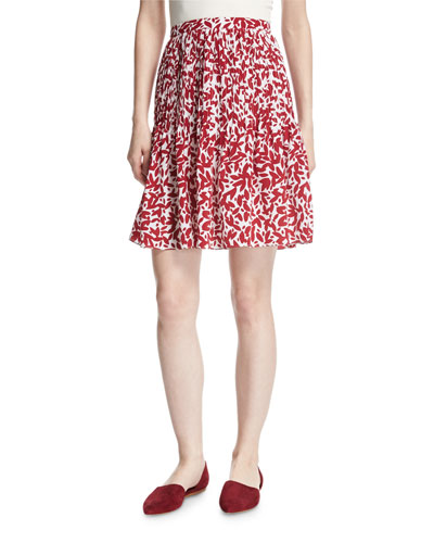 Abstract-Print Silk Skirt, White/Red