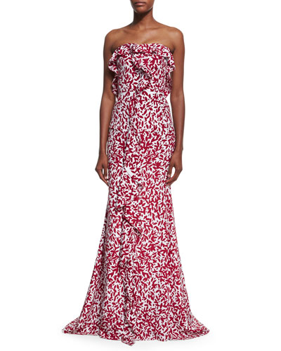 Strapless Leaf-Print Silk Crepe Gown, White/Red
