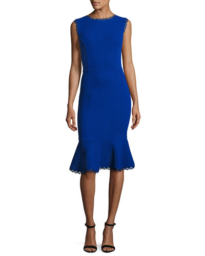 Sleeveless Lace-Trim Flounced Dress, Blue