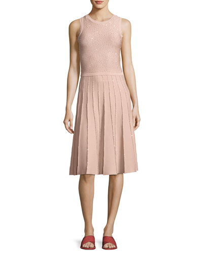 Sleeveless Sequined Knit Dress, Rose Gold