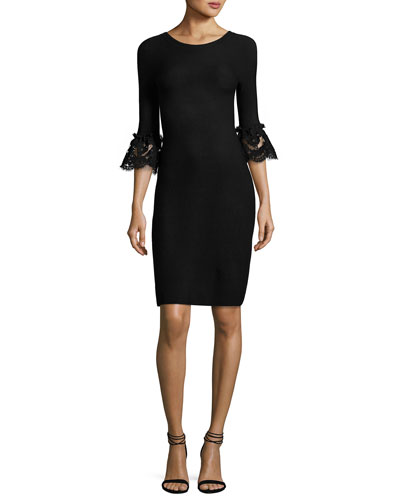 Scoop-Back Lace-Cuff Sheath Dress, Black