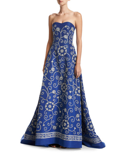 Embroidered Strapless Silk Faille Gown, Blue