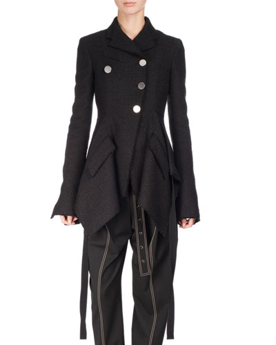 Asymmetric Tweed Coat, Black