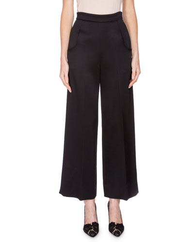 Cropped Wide-Leg Satin Pants, Black