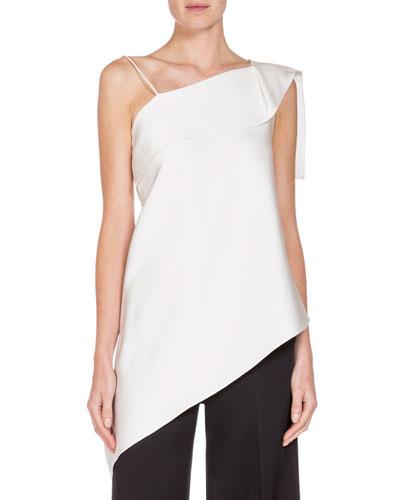 Asymmetric Folded Satin Top, White