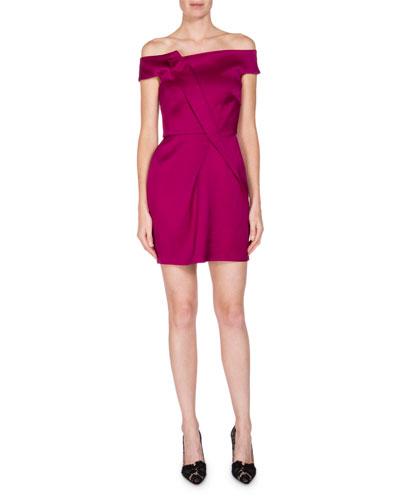 Off-the-Shoulder Satin Cocktail Dress, Pink