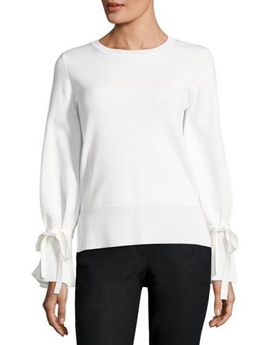 Bell-Sleeve Crewneck Sweater
