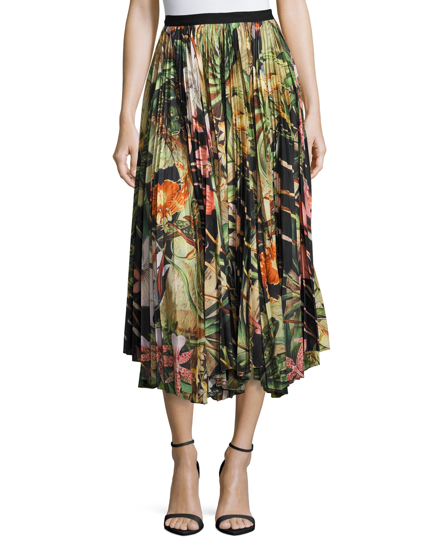 Pleated Jungle-Print Skirt, Black Pattern