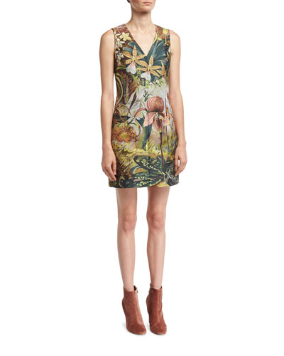 Sleeveless Jungle-Print Mini Dress, Multi