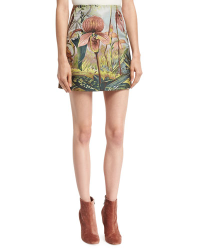 Jungle-Print Mini Skirt, Multi