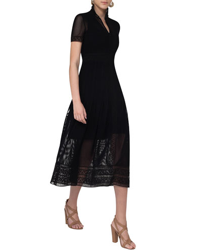 Short-Sleeve Geometric Lace Midi Dress, Black