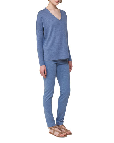 V-Neck Wool Pullover Top, Navy