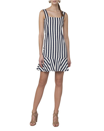 Sleeveless Striped Shift Dress, White Pattern