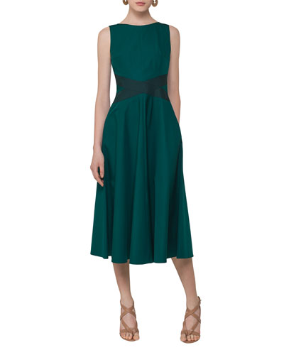 Sleeveless Cotton Cross-Waist Dress, Multi