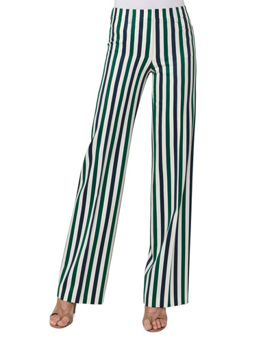 Mikka Striped Wide-Leg Pants, Green Pattern