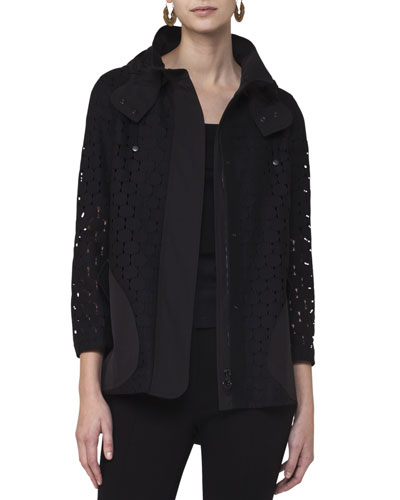 Punto Eyelet Zip-Front Coat, Black