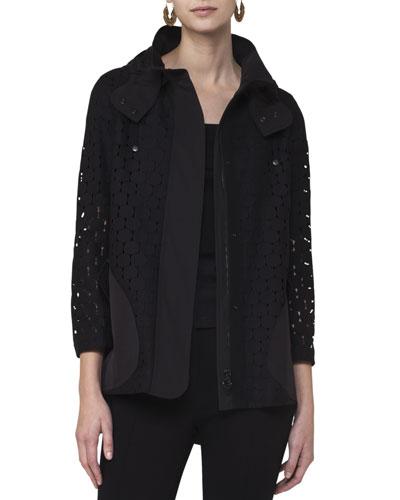 Punto Eyelet Zip-Front Coat, Black