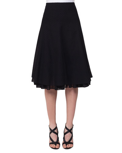 Swiss Dot A-Line Skirt, Black