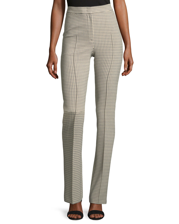 Claire Plaid Straight-Leg Pants