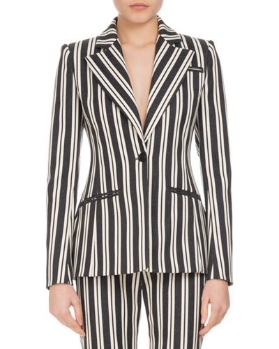 Acacia Striped One-Button Jacket, Multi