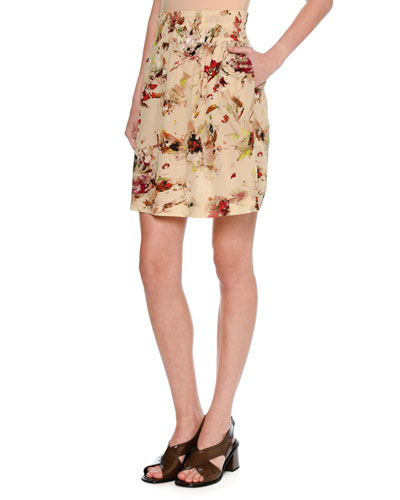 Cosmic Floral Silk Skirt, Multi