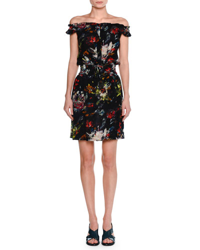 Cosmic Floral Off-Shoulder Dress, Multi