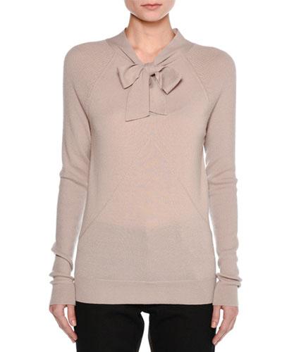 Cashmere Tie-Neck Sweater, Gray