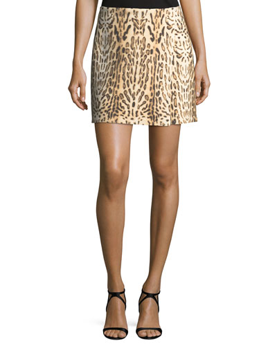 Leopard-Print Mini Wrap Skirt