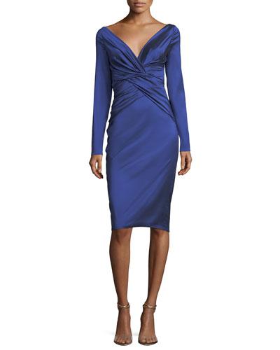Nogales Stretch-Taffeta Sheath Dress