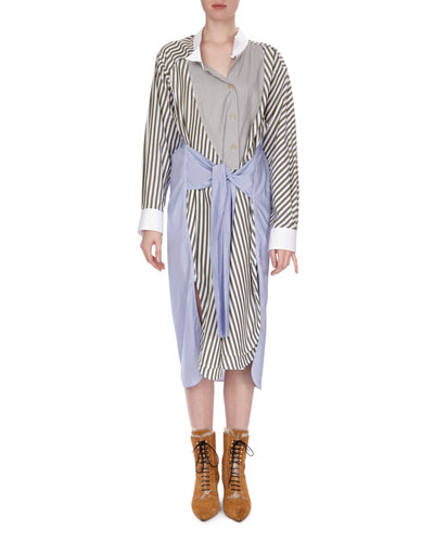 Mixed-Stripe Midi Shirtdress, Multi Pattern