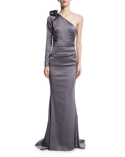 Noelani Satin Crepe One-Shoulder Gown