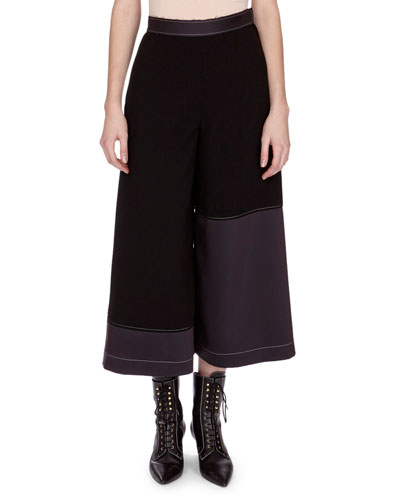 Topstitched Culotte Trousers, Black