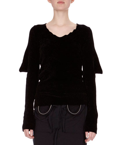 Knit Puff-Sleeve Open-Back Sweater, Black