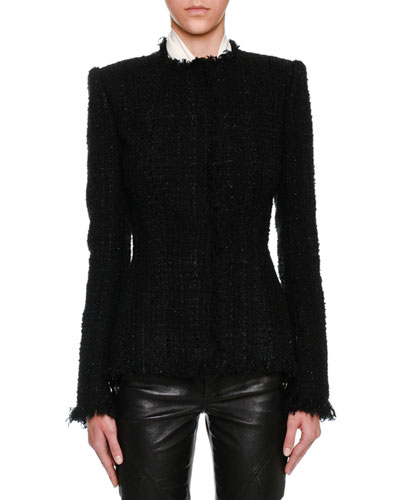 Metallic Tweed Fringe-Trim Jacket, Black