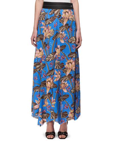 Floral-Print Maxi Skirt w/Leather Waist, Blue Pattern