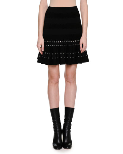 Chenille Miniskirt with Eyelet Trim, Black