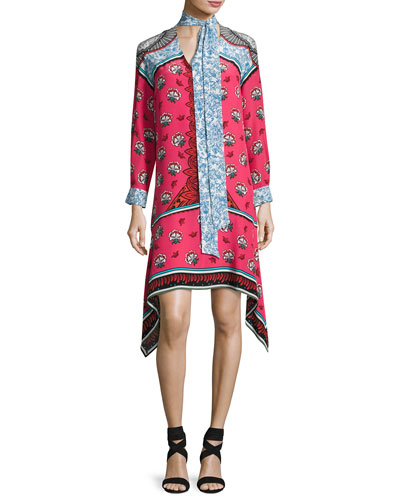Long-Sleeve Mixed-Print Scarf-Tie Dress, Pink Pattern