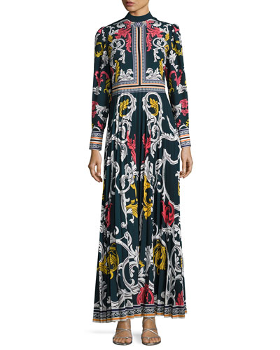 Long-Sleeve Scroll-Print Maxi Dress, Blue Pattern