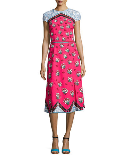 Cap-Sleeve Mixed-Print Midi Dress, Pink Pattern