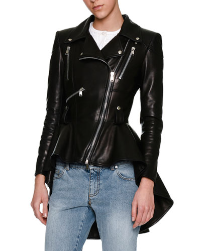 Leather Moto Peplum Jacket, Black